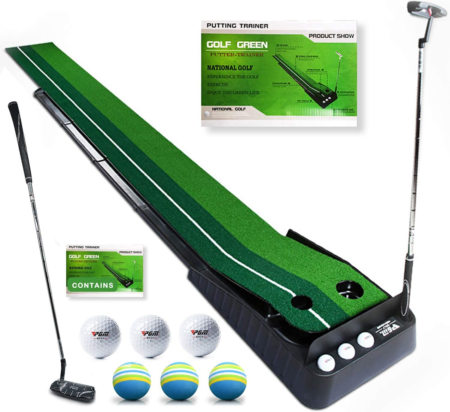 Golf Putting Green,Indoor Golf Mat With Auto Ball Return Function,Golf Practice Training Aid,synthetic turf golf practice putting green,10.5 Feet golf Mat,with 1 Golf putter,6 balls For Office Home