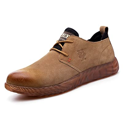 VOLKLAND Men Casual Leather Steel Toe Safety Shoe: Shoes