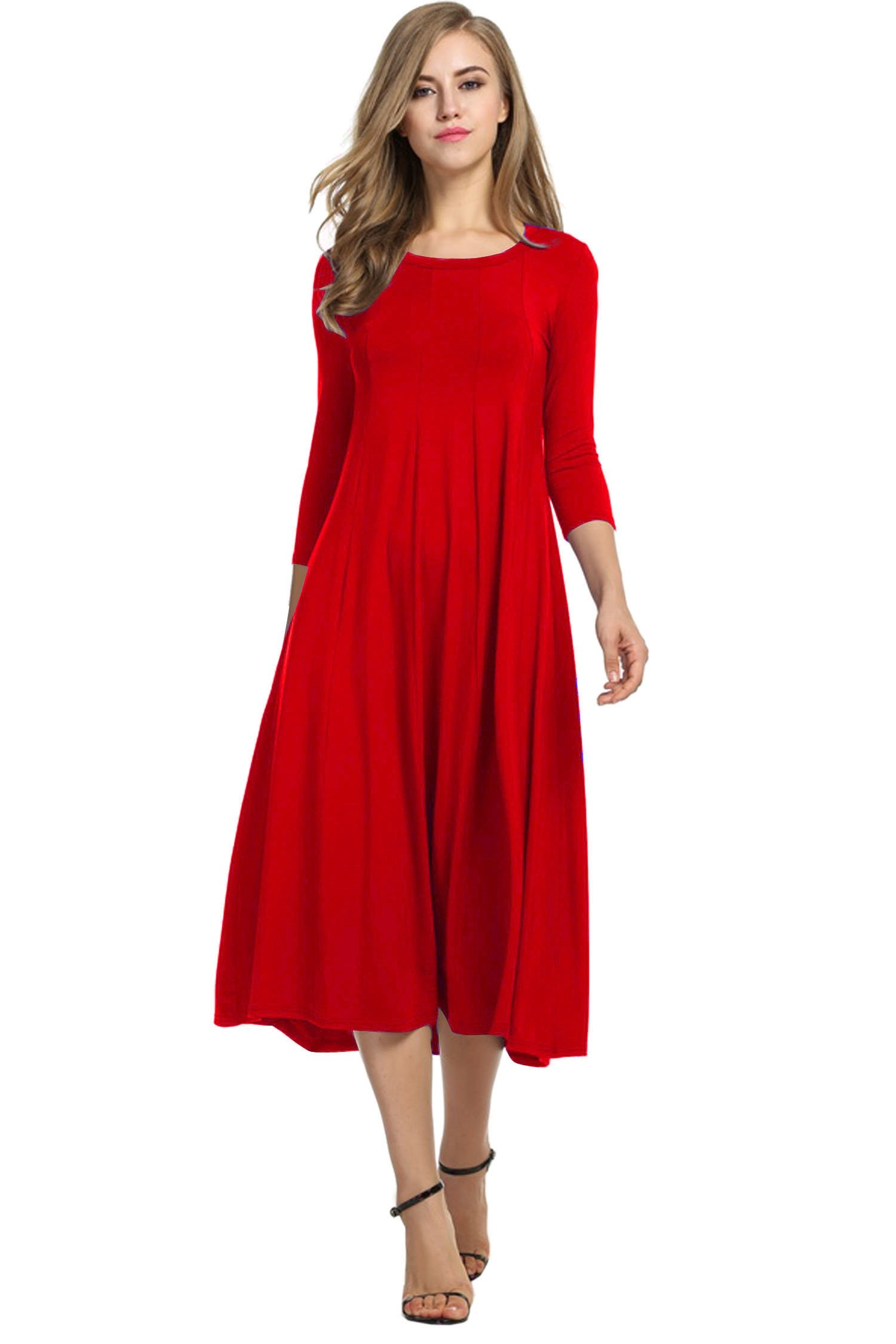 HOTOUCH Women's O Neck Long Dresses Loose Casual Midi Dresses (Red XL)