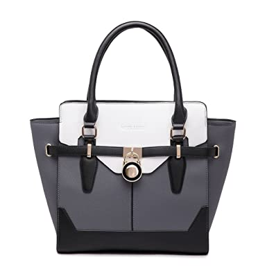 c2c125e3032c Miss Lulu Gorgeous Designer Handbags Inspired Padlock Shopping Tote Faux  Leather Shoulder Bags (Gray-
