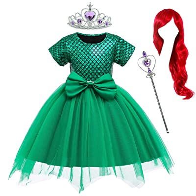 Party Chili Little Girls Mermaid Green Dress Princess ostumes for Toddler Girls with Accessories 18 Months to 6 Years: Clothing