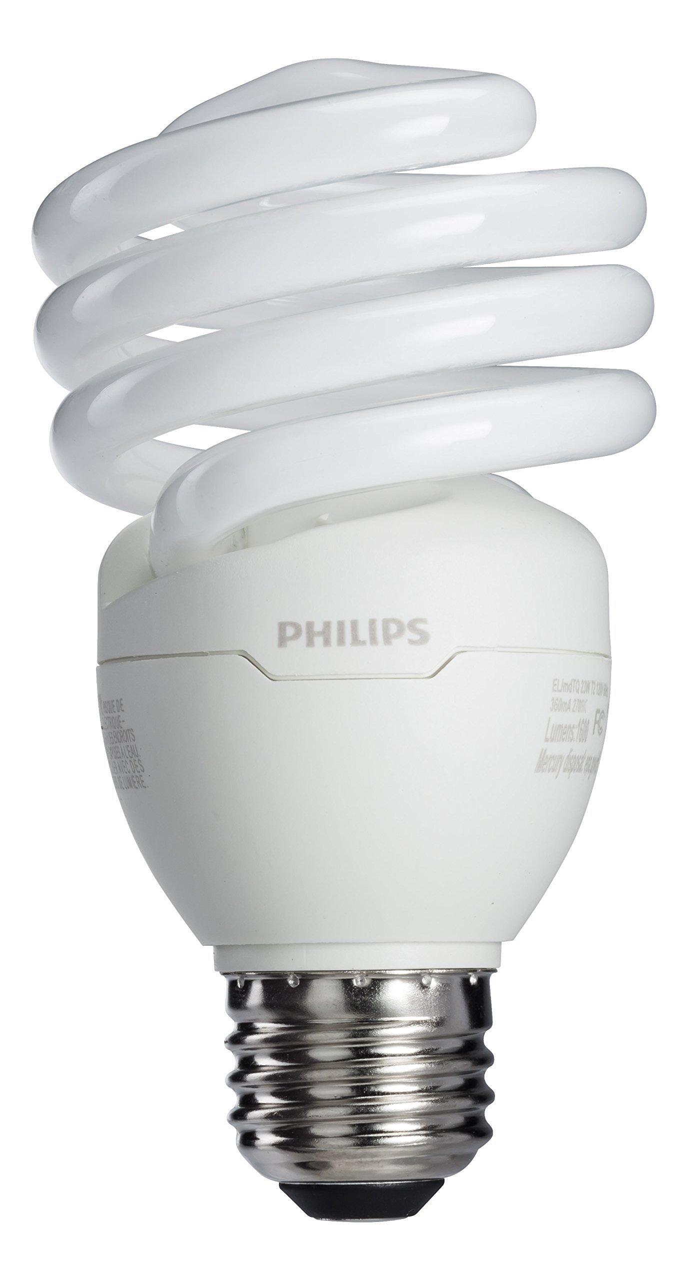 Philips 417097 Energy Saver 23-Watt 100W Soft White CFL Light Bulb, 4-Pack by Philips (Image #1)
