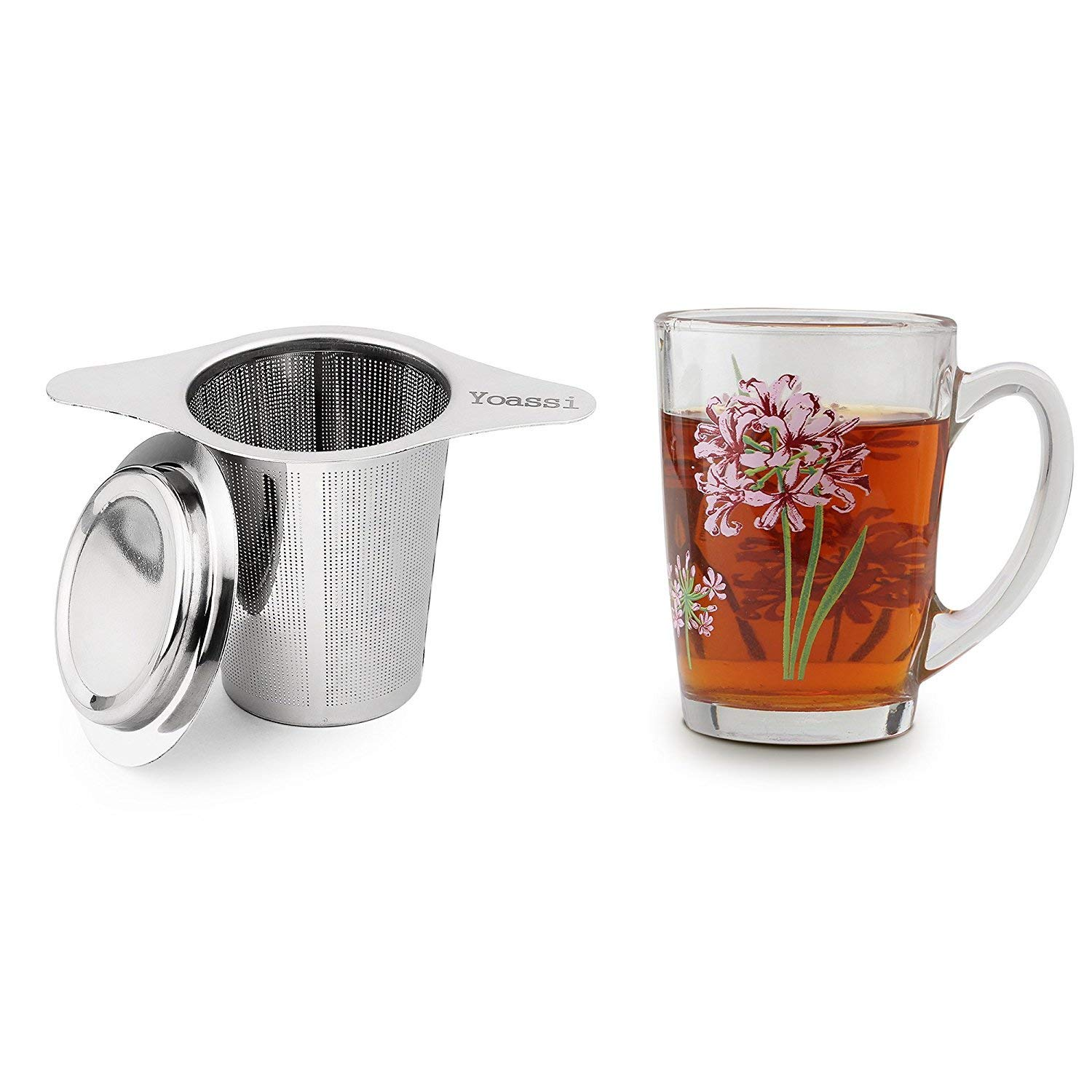 Yoassi 2 Pack FDA Approved 8/18 Stainless Steel Tea Infuser Mesh Strainer with Large Capacity & Perfect Size Double Handles for Hanging on Teapots, Mugs,Cups to steep Loose Leaf Tea and Coffee by IPOW (Image #3)