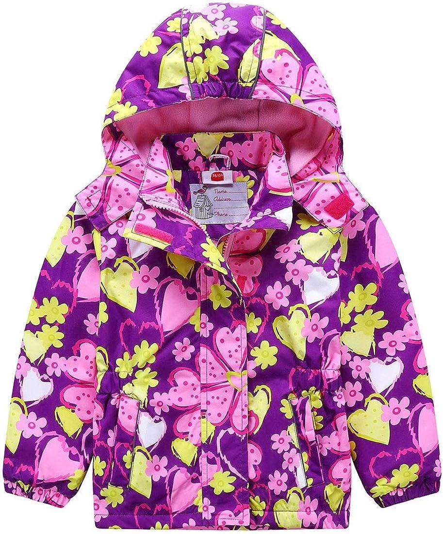 PanpanBox Impermeable Chaqueta con Capucha para Niña Prueba de Viento Abrigo de Entretiempo Primavera y Otoño al Aire Libre Cazadora Deportivos 2-11 años