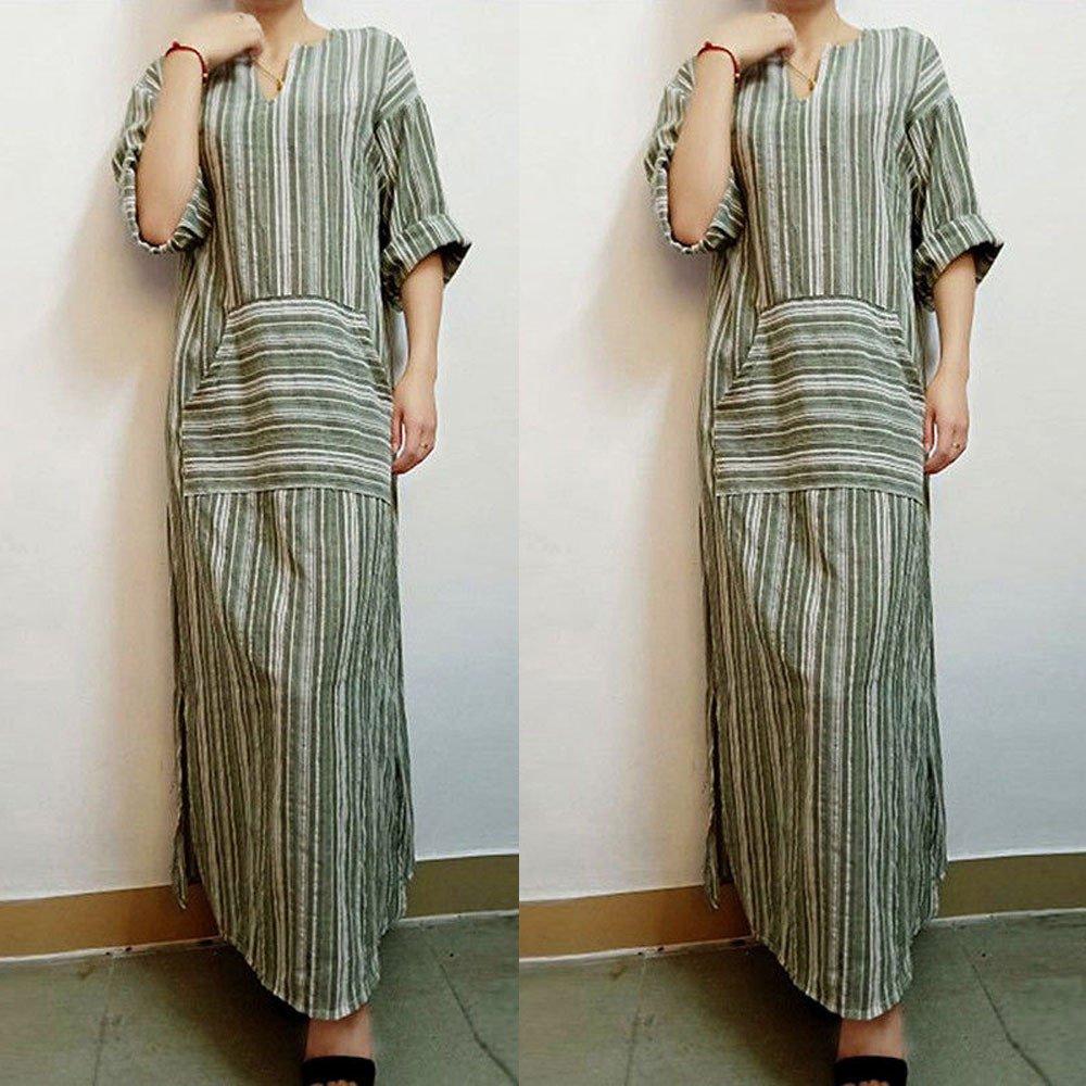Overmal Womens Fashion Striped Long Sleeve Kaftan Long Dress