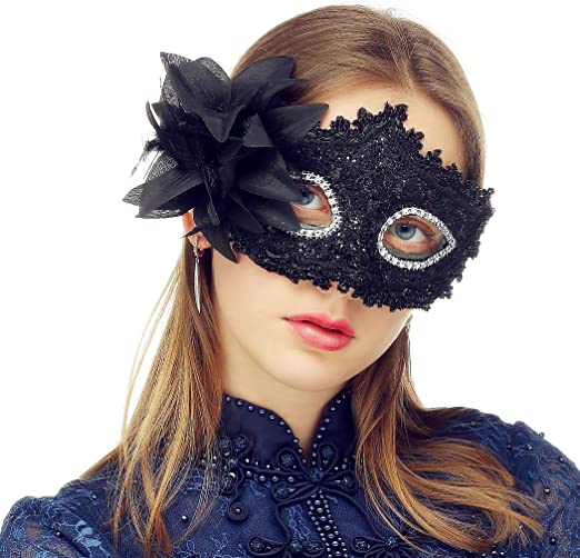 Womens Ladies Black Lace Eye Mask Flowers Feathers Masquerade Ball Fancy Dress