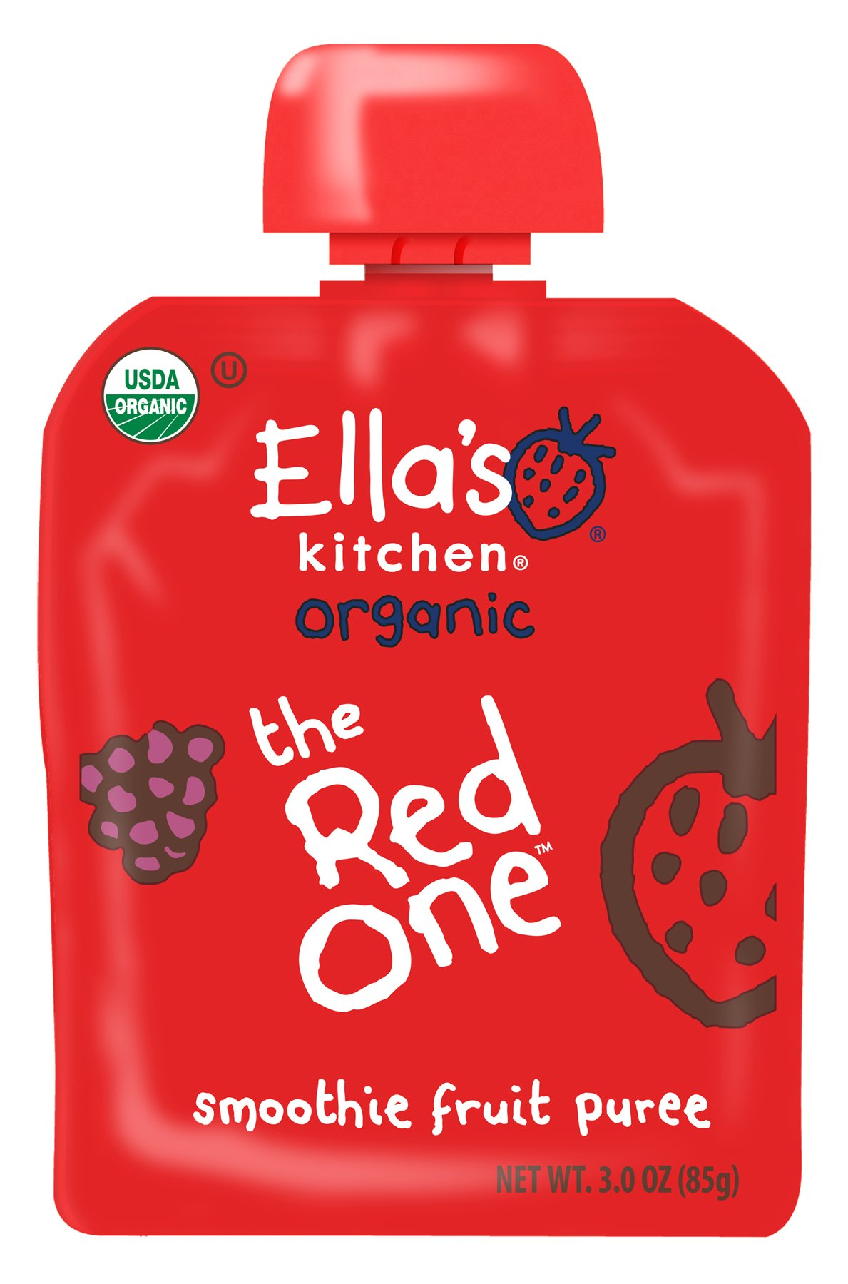 Ella's Kitchen 6+ Months Organic Smoothie Fruits, The Red One, 3 oz. (Pack of 6)