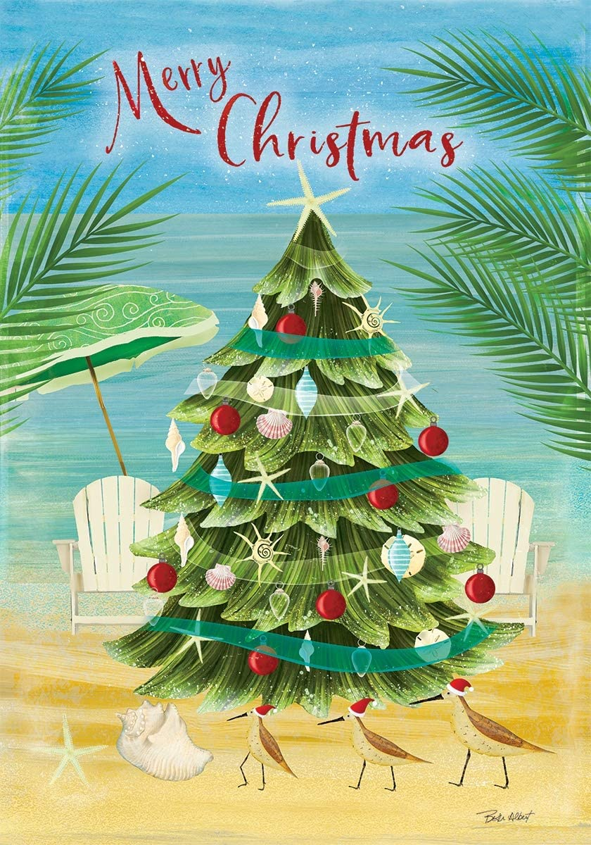 Custom Decor Merry Christmas Coastal Tree - Seas & Greetings - Garden Size, Decorative Double Sided, Licensed and Copyrighted Flag - Printed in The USA Inc. - 12 Inch X 18 Inch Approx. Size