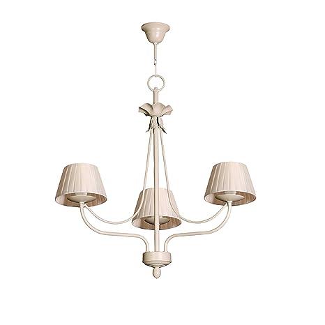 Lámpara de techo de 3 luces acabado marfil con pantallas de ...