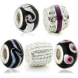 Hidden Gems - 5 x Drops Femme, Perle Verre, Plaqué Argent, Noir et Blanc