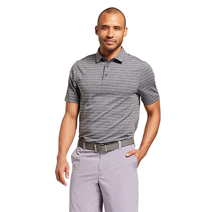 cfd1f939a Champion C9 Men's Multi Striped Golf Polo Shirt - (Black Heather/Purple  Shell,
