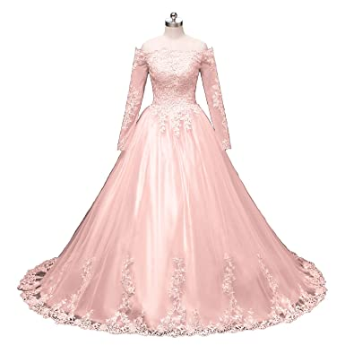 Pink Lace Ball Gowns