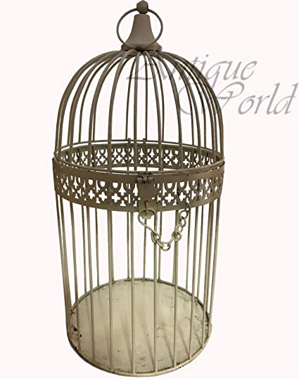 Antiques World Beautiful Collectible Vintage Theme Look Royal White Bird  Cage Made Of Metal Home Art
