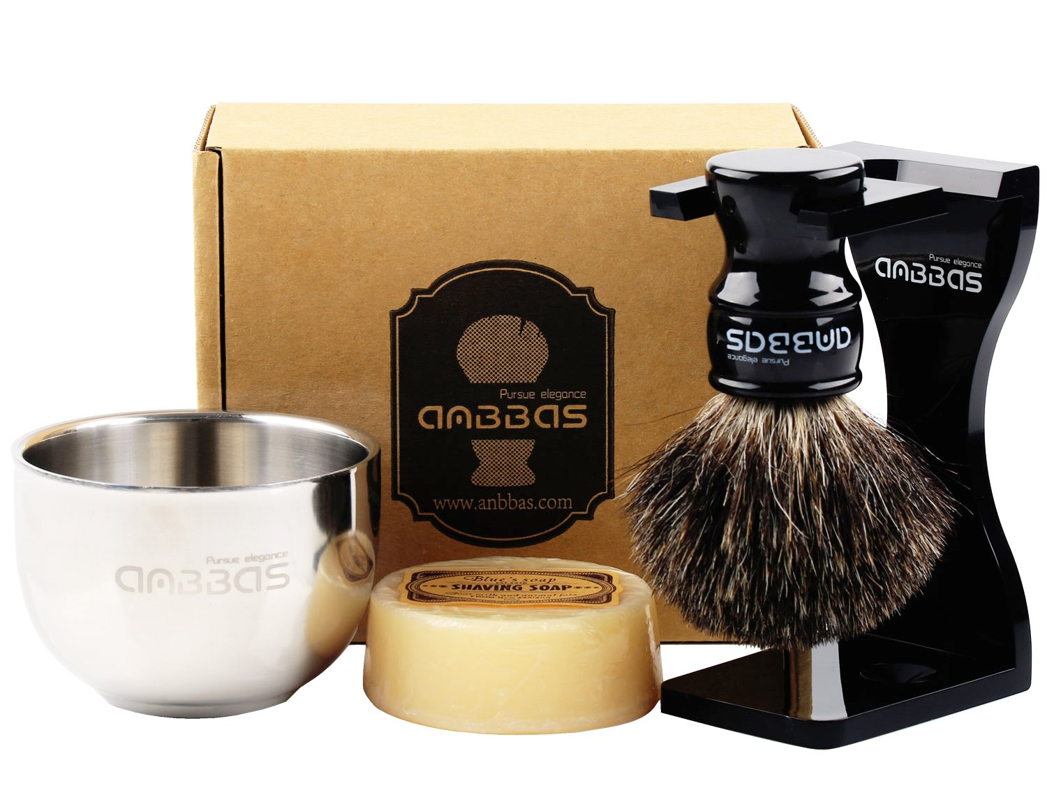 Shaving Set, 4in1 Anbbas Pure Black Badger Shaving Brush with Long Resin Handle and Acrylic Anti-impact Shaving Stand,Soap Bowl Stainless Steel Dia3.2'' and Goat Milk Shaving Soap 100g Men Gift Kit