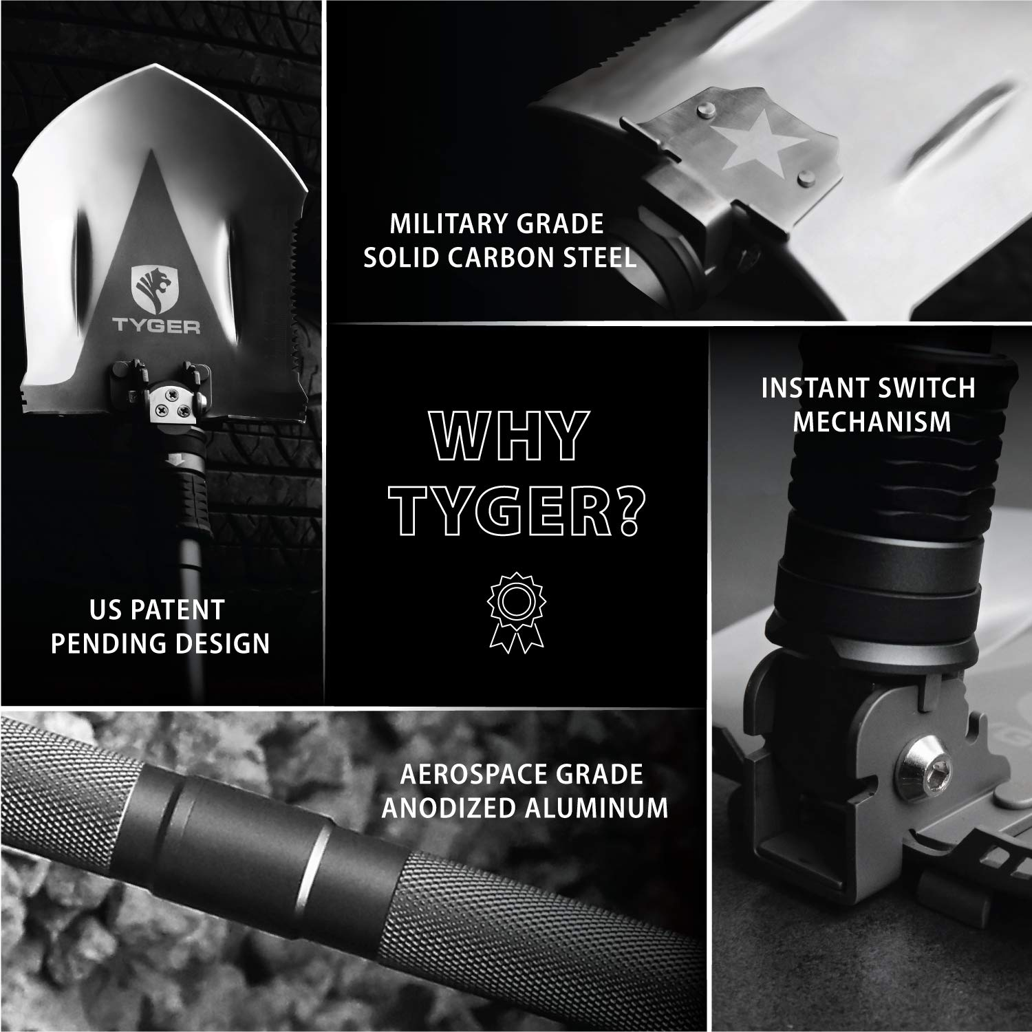 Tyger Shovel TG-SV8U3217 Military Heavyduty Folding Compact Tool with 16-in-1 Multifunction for Off-Roading, Camping, Outdoor, Survivalist and Emergency by Tyger Auto (Image #4)