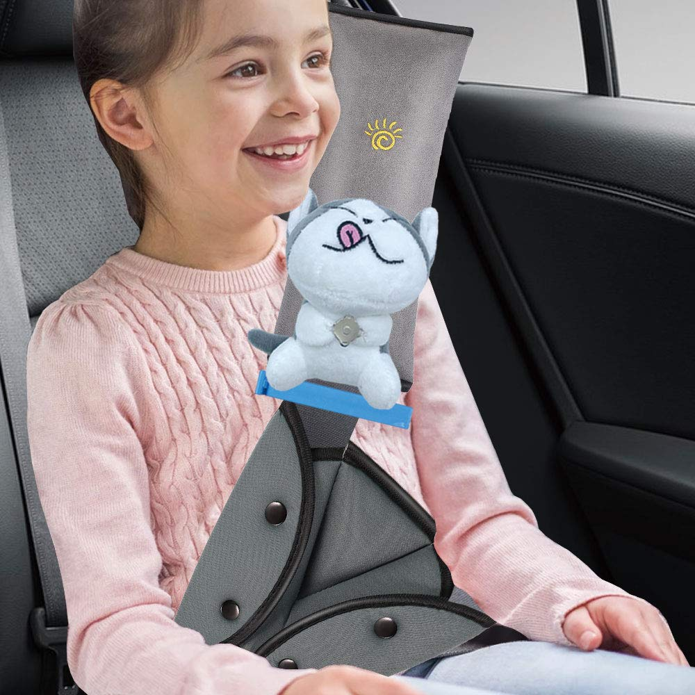 Seat Belt Adjuster and Pillow for Kids with Plush Toy, Soft Neck Support Headrest, Comfortable Seatbelt Covers for Child, Car Seat Belt Shoulder Pads for Kid (Cat-Gray)