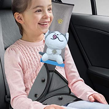 Kids Safety Seatbelt  Head Neck Support with Car Seat Belt Adjuster Pads Black