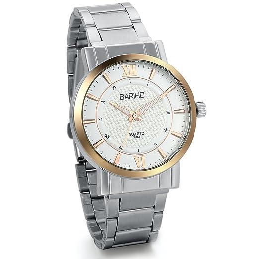 Jewelrywe Relojes de hombre, Cuarzo Retro sencillo correa acero inoxidable, blanco Números romanos, Reloj Clásico, Relojes caballero: Amazon.es: Relojes
