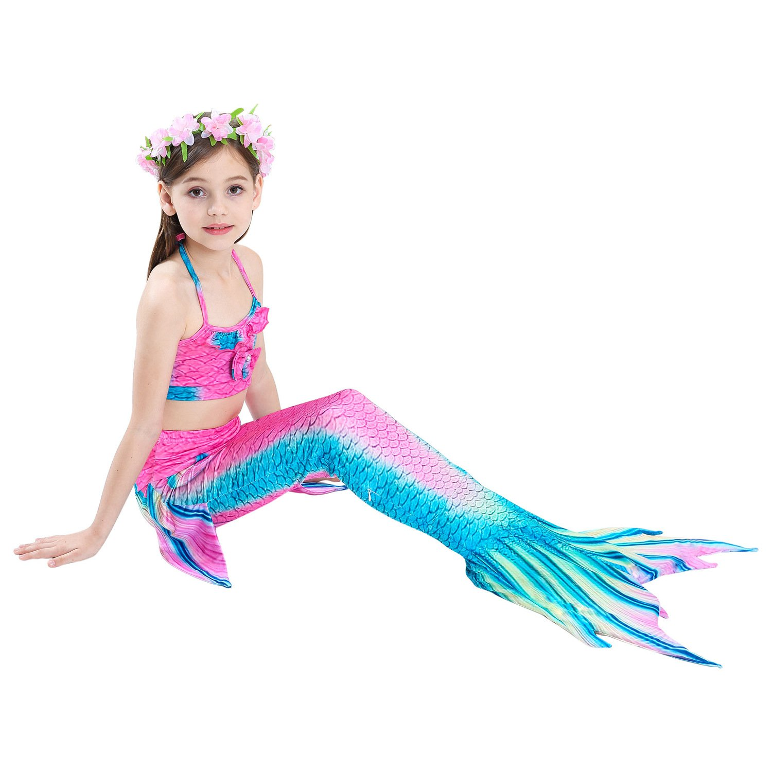 Girls Mermaid Tail for Swimming and Flower Hairband 4 Pcs Sets