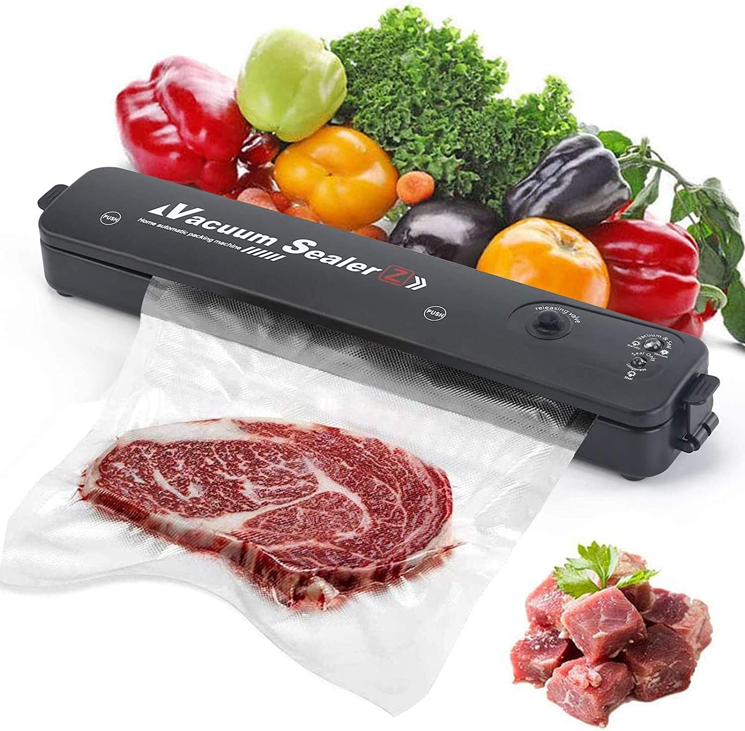 Food Saver Vacuum Sealer Machine, One-Touch Vacuum Packing Food Sealer Storage Packing Machine for Food Sealing Preservation, with 15 Vacuum Sealer Bags Food Storage Home Use