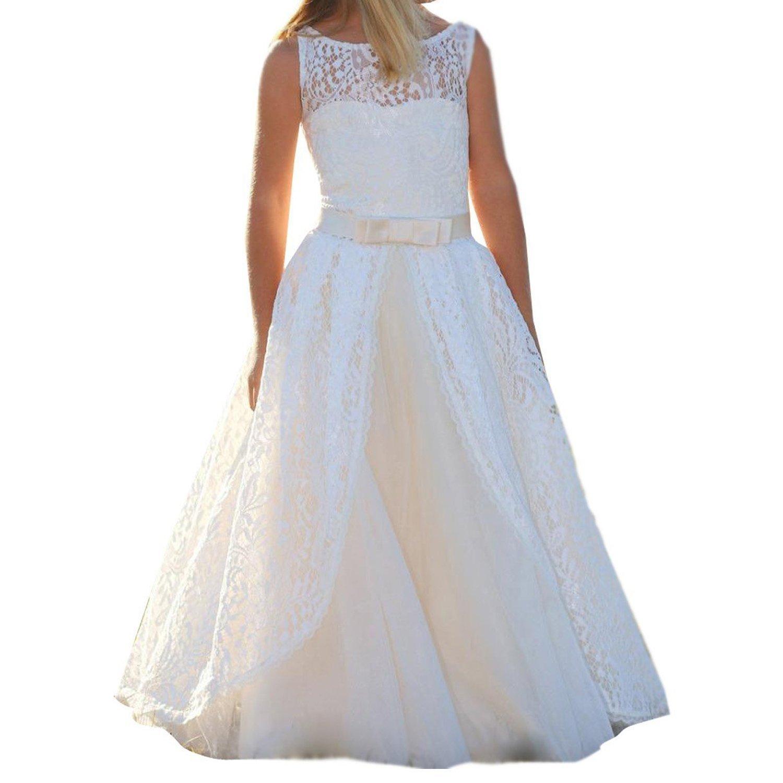 Pnehewery Spitze lange weiße Blume Mädchen Kleider Kommunion Party ...