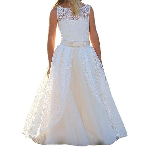 525915014b3 Amazon.com  yuanzhuoshangp White Tulle Satin Flower Girl Dress Round-Neck  Sleeveless First Holy Communion  Clothing