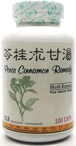 Poria Cinnamon Remedy Dietary Supplement 500mg 100 Capsules Ling GUI Zhu Gan Tang E18 100 Natural Herb