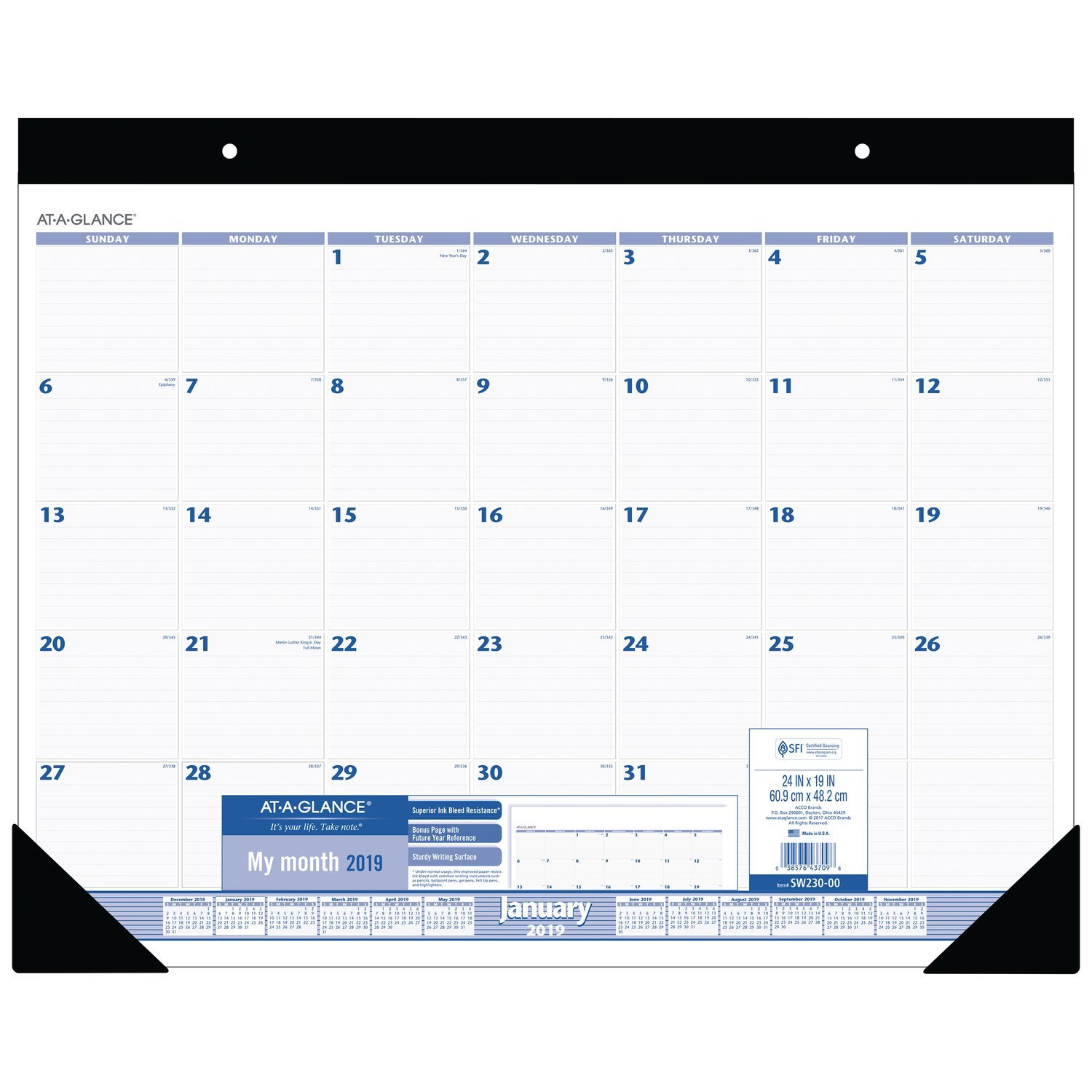 AT-A-GLANCE Monthly Desk Pad Calendar, January 2019 - December 2019, 24'' x 19'', Blue/Gray (SW23000)