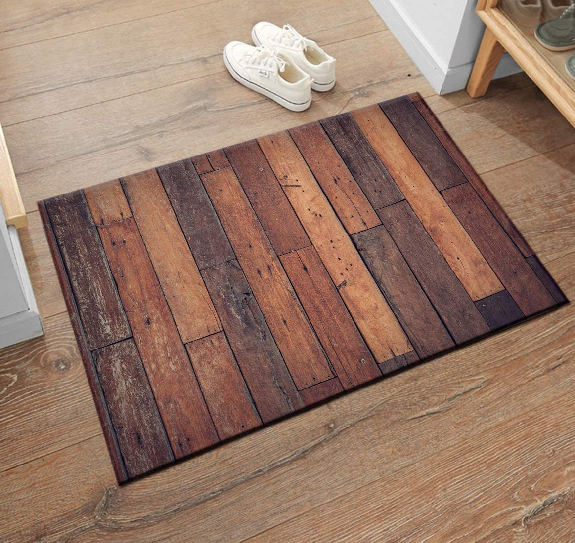 "HVEST Wooden Plank Area Rugs Vintage Wood Carpet Non-Slip Doormat for  Living Room Bedroom Kitchen Floor Mat,(33""x33"")"