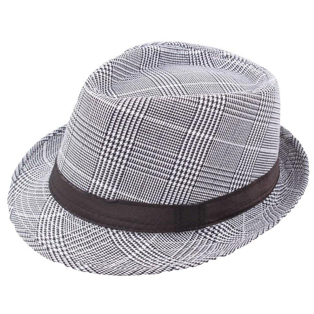4c190f6a5f5 Amazon.com   Egmy💐 Clearance Sale ❤ Newest Unisex Trilby Gangster Cap  Beach Sun Straw Hat Band Sunhat (White)   Garden   Outdoor