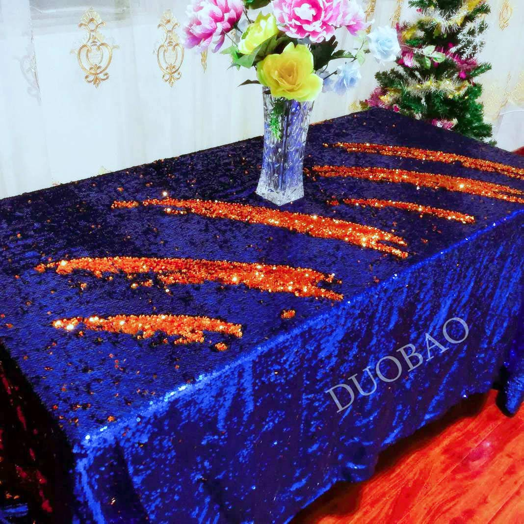 Sequin Tablecloth 72x108-Inch Orange Glitter Tablecloth Royal Blue to Orange Two Tone Sequin Fabric Mermaid Party Decor