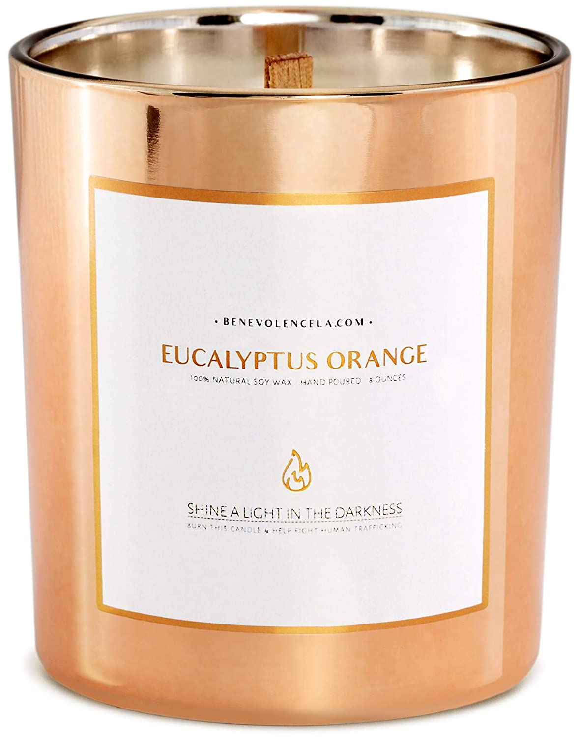 Premium Eucalyptus & Orange Hand Poured Scented Candles, 8 oz | 45 Hour Burn, Long Lasting, Highly Scented, All Natural Soy Candles | Relaxing Aromatherapy Candle in Rose Gold Glass Jar