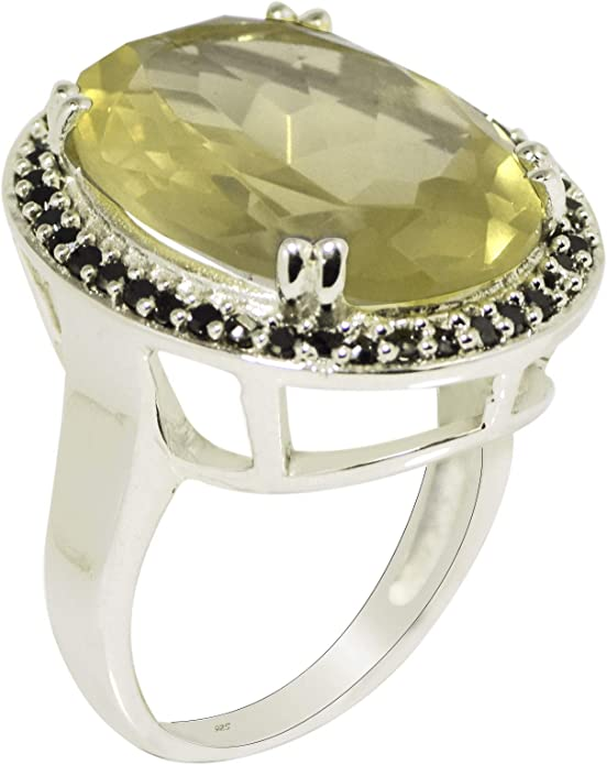 Cluster 925 Sterling Silver Black Spinel Bar Party Wear Ring