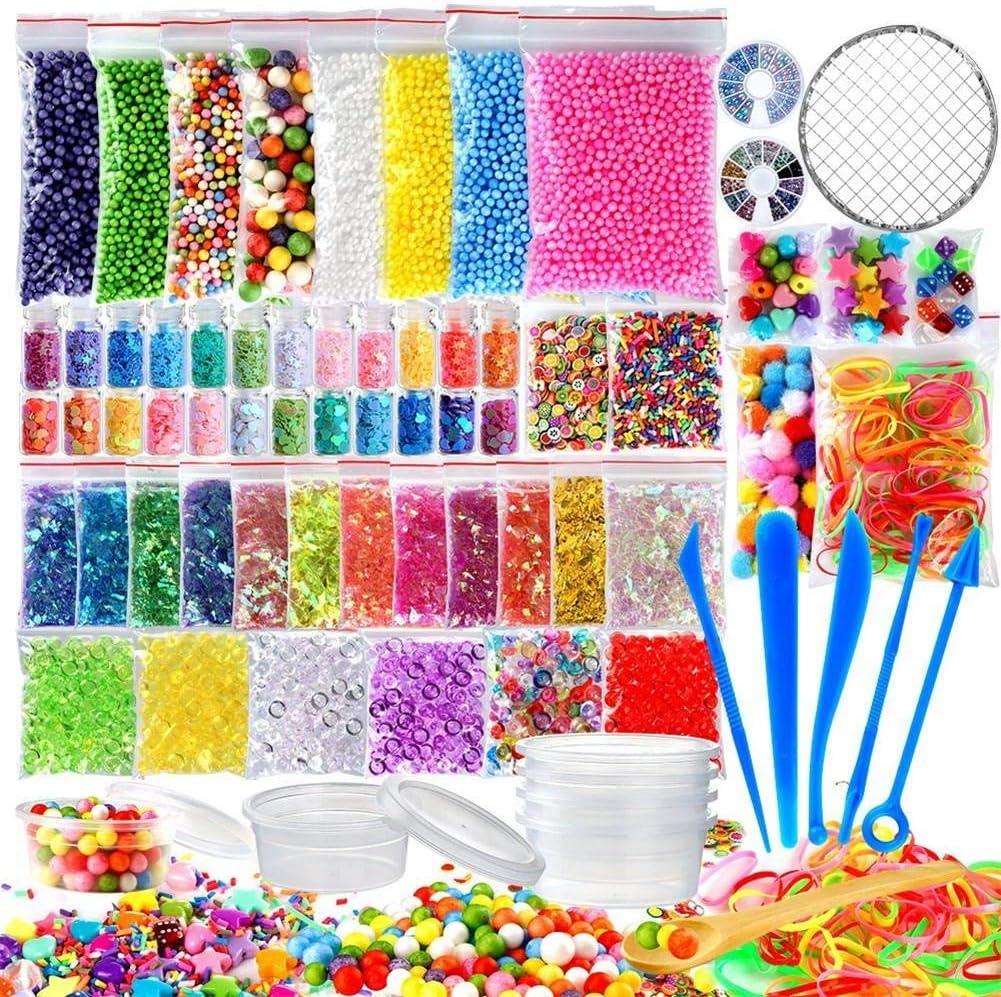 Diafrican Kit de suministros, paquete de 72 suministros para hacer slime, para niñas y niños, herramienta para hacer slime, caja de regalo, botellas de cristal, bricolaje, manualidades, arte y adornos