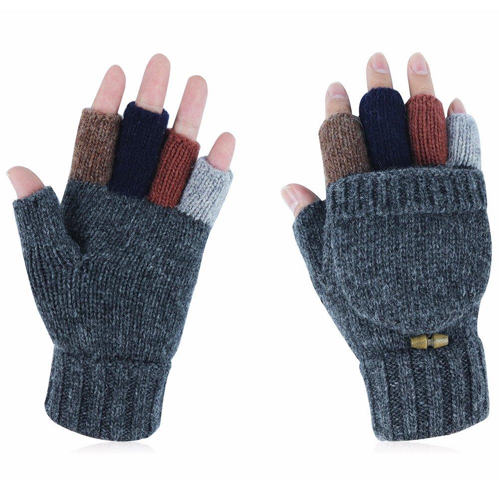 Kay Boya Winter Knit Wool Gloves Thicken Warm Gloves Fold Back Gloves for Men & Women (Grey) by Kay Boya (Image #1)