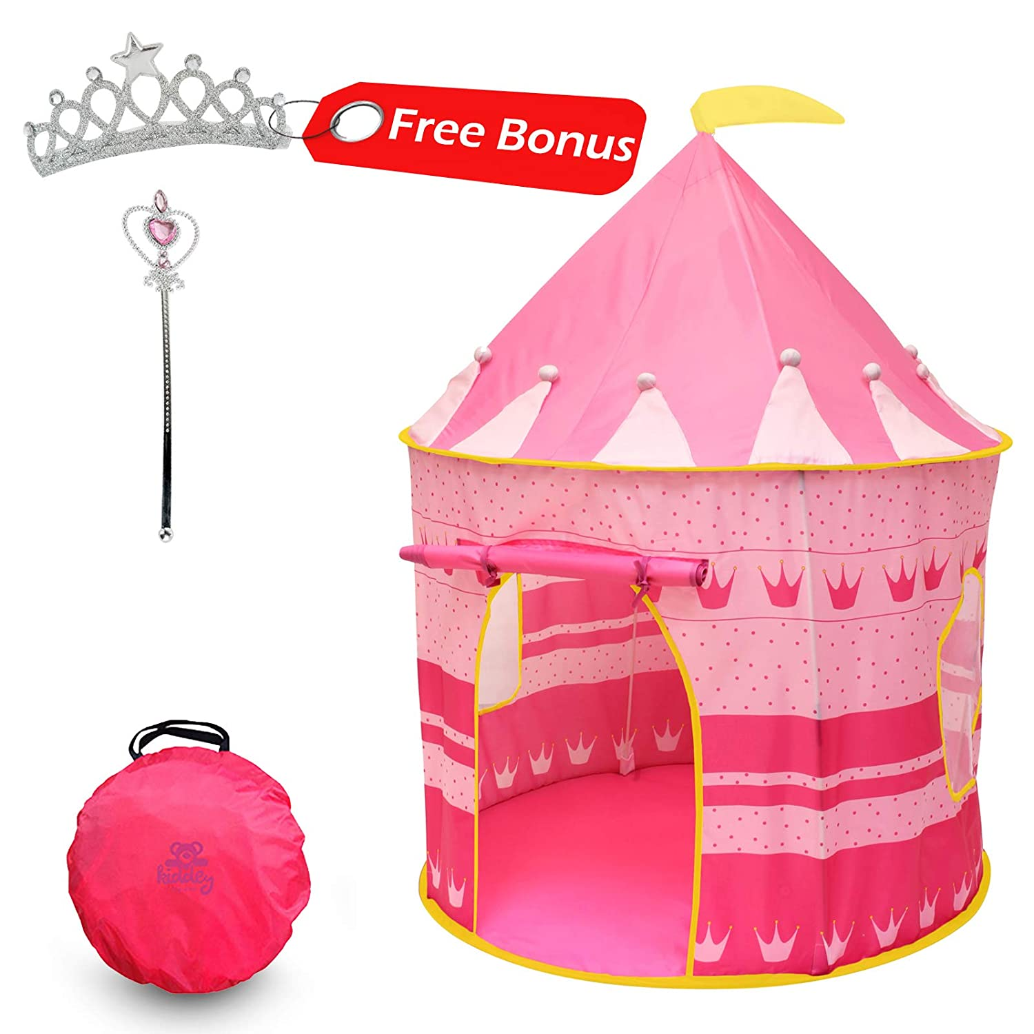 4629e9e80362 Amazon.com  Kiddey Princess Castle Kids Play Tent - Indoor Outdoor Pink  Children Playhouse Christmas gifts for kids Boys Girls