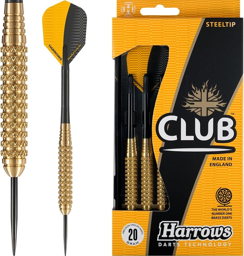 Harrows Club latón juego de dardos – dardos de punta de acero – 20 G – botones con – esquina tarjeta de comprobación): Amazon.es: Deportes y aire libre