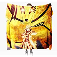 Mantas para Sofa Anime Naruto 100 × 130 cm, Mantas para Cama de Franela Reversible, Mantas Ligeras de 100% Microfibra…