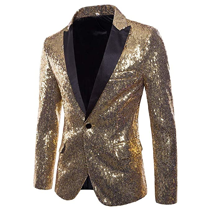 Charm Mens Shining Suit for Host One Button Blazer Coat Jacket Sequin Party Cocktail (S