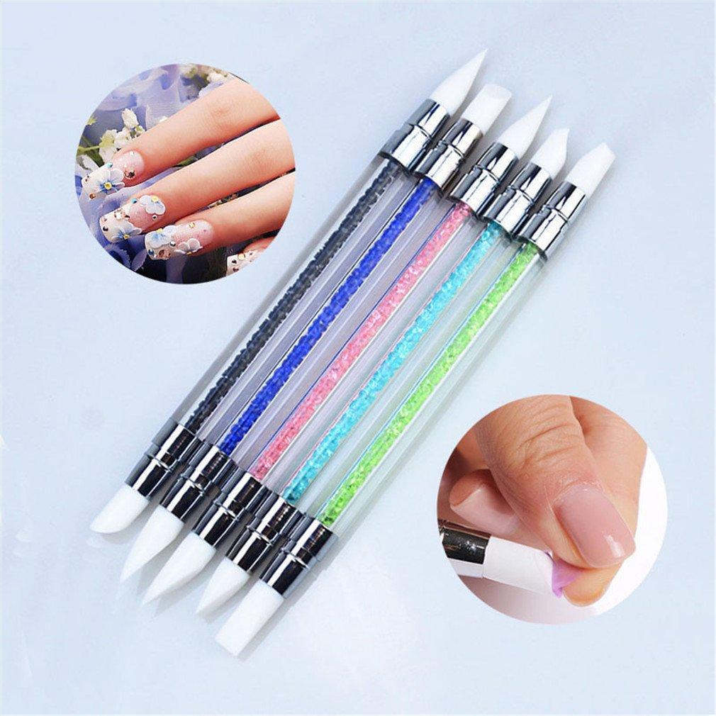 5Pcs Nail Art Polish Carving Dotting Painting Pen Brushes Silicone Head Acrylic Brush Manicure Tools Set 2 Way