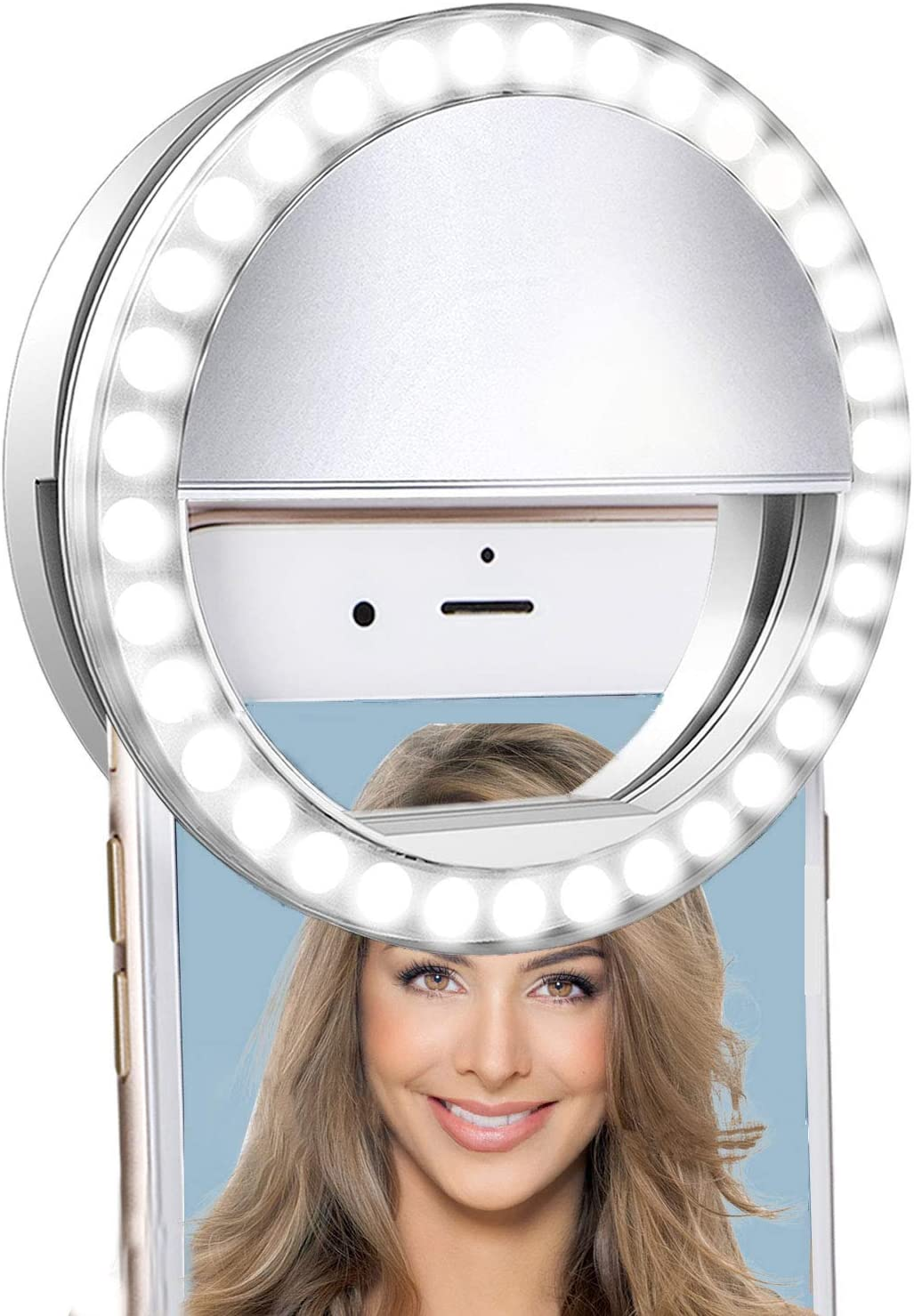 Selfie Ring Light for iPhone & Android,LVYOUIF Portable Clip on Ring Selfie Light Flash with 36 Rechargeable LED for Phone Laptop iPad Photography Camera Video Girls Makeup Mirror(White)