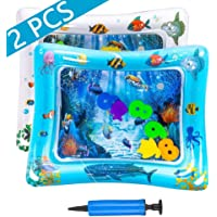 Tummy Time Inflatable Water Play Mat Playmat Sensory Activity Toy for Infant Toddlers Baby Girl/Boy 3 to 18 Months Old-2PCS