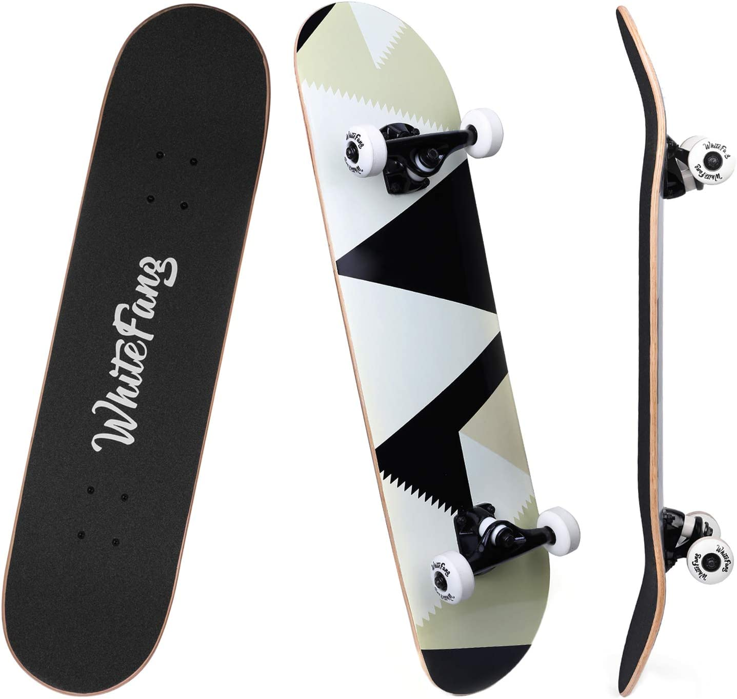 WhiteFang 7 Layer Canadian Maple Double Kick Skateboard for Beginners