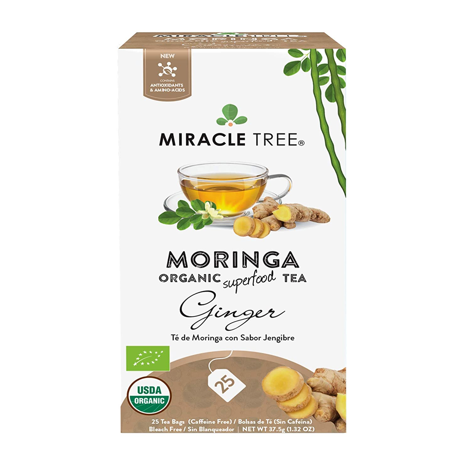 Amazon.com : Miracle Tree - Organic Moringa Superfood Tea, 25 Individually Sealed Tea Bags, Honey & Vanilla : Grocery & Gourmet Food
