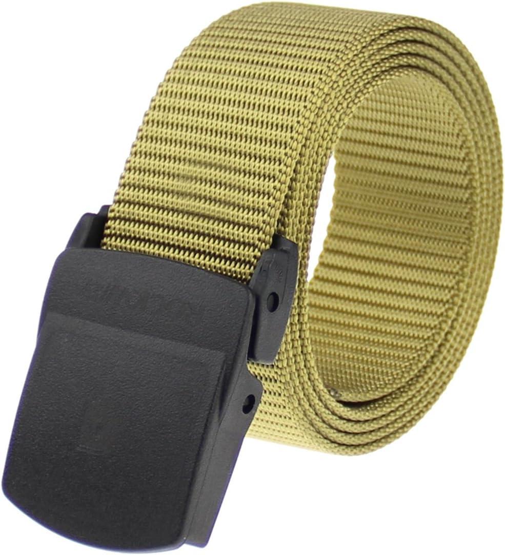 Rockway Men'S Nylon Webbed Belt mit groß Plastic Buckle, Nickel Free Airport Friendly Khaki