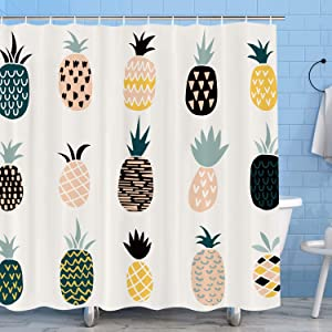 "Pineapple Shower Curtain, Colorful Tropical Fruit Aloha Jungle Summer Plant Waterproof Fabric Bathroom Decor Sets with 12 Hooks, 72""x72""(White)"