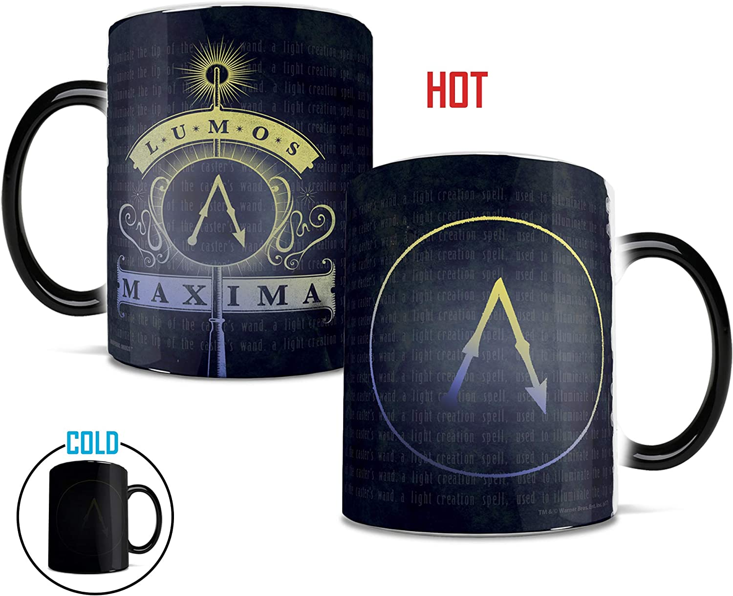 Morphing Mugs Harry Potter Lumos Maxima Heat Reveal Ceramic Coffee Mug - 11 Ounces