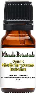 Miracle Botanicals Organic Italian Helichrysum Essential Oil - 100% Pure Helichrysum Italicum - Therapeutic Grade - 10ml