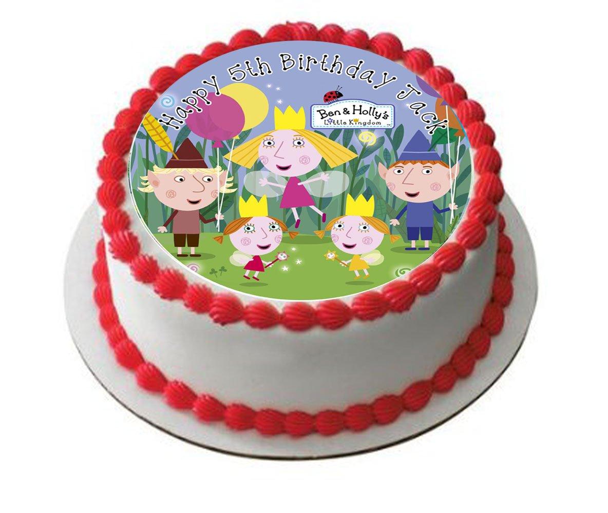 Ben et Holly gâteau d/'anniversaire comestibles rond imprimé cake topper décoration