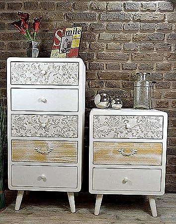 Livitat® Kommode Schrank Sweet Home 5 Schubladen Vintage Shabby Chic ...